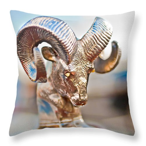 Dodge Ram Hood Ornament Throw Pillow featuring the photograph Dodge Ram Hood Ornament 3 by Jill Reger