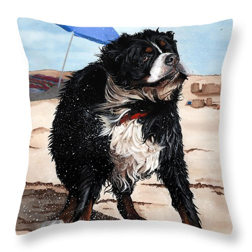 Bernese Mountain Dog Throw Pillow featuring the painting Dog Days Of Summer by Liane Weyers