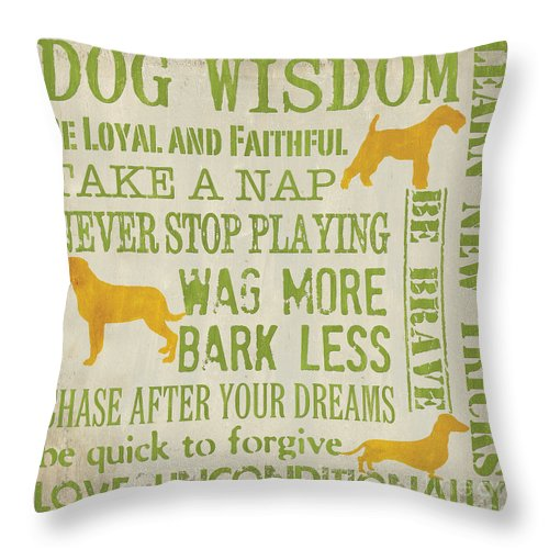 Dog Throw Pillow featuring the painting Dog Wisdom by Debbie DeWitt