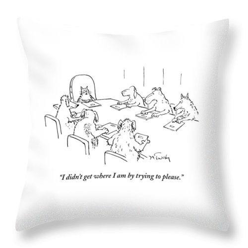 Caption Contest Tk Throw Pillow featuring the drawing Dogs At A Meeting by Mike Twohy
