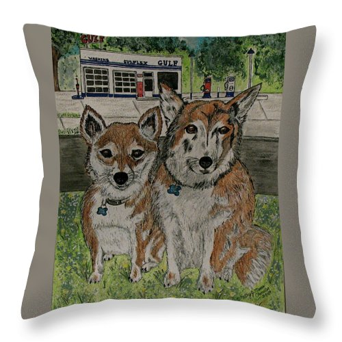 Dogs Throw Pillow featuring the painting Dogs In Front Of The Gulf Station by Kathy Marrs Chandler