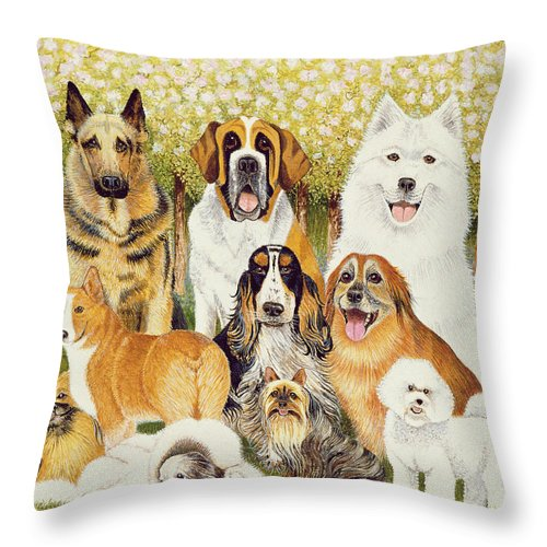 Dog Throw Pillow featuring the painting Dogs In May by Pat Scott