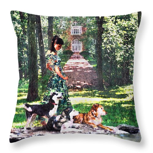 Landscape Throw Pillow featuring the photograph Dogs Lay At Her Feet by Steve Karol