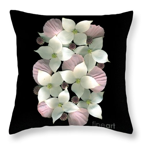 Dogwood Throw Pillow featuring the photograph Dogwood And Poppies by Dale Hoopingarner
