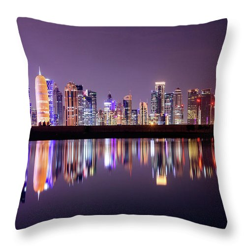 West Bay Throw Pillow featuring the photograph Doha Skyscrapers by Photography By Lubaib Gazir