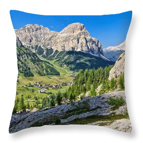 Overview Throw Pillow featuring the photograph Dolomiti - High Badia Valley by Antonio Scarpi