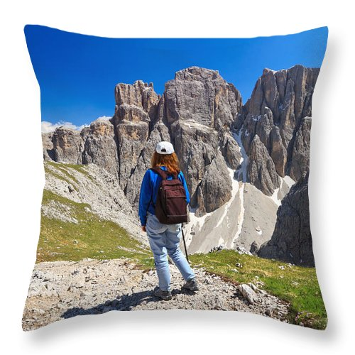Hiker Throw Pillow featuring the photograph Dolomiti - Hiker In Sella Mount by Antonio Scarpi