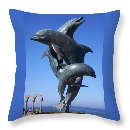 Jandrel Throw Pillow featuring the photograph Dolphin Dance by J Andrel