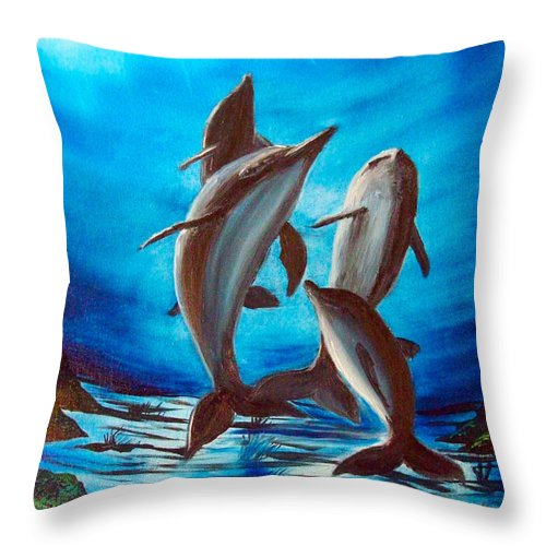 Dolphin Throw Pillow featuring the painting Dolphin Family by Dan Harshman