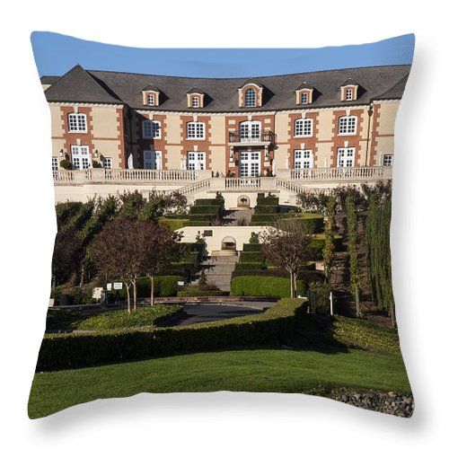 Napa Valley California Wineries Vineyard Vineyards Domaine Cameros Winery Building Buildings Structure Structures Architecture Tree Trees Rock Rocks Stone Stones Grapevine Grapevines Landscape Landscapes Throw Pillow featuring the photograph Domaine Carneros by Bob Phillips