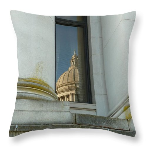 Capitol Throw Pillow featuring the photograph Dome Reflection by Patricia Strand