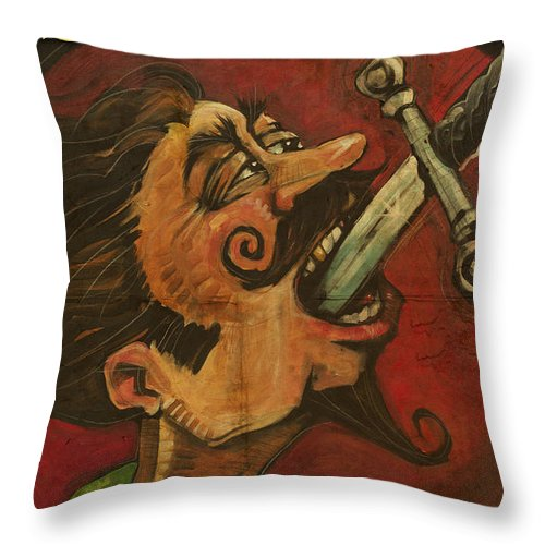 Sword Swallower Throw Pillow featuring the painting Dominick The Daring Poster by Tim Nyberg