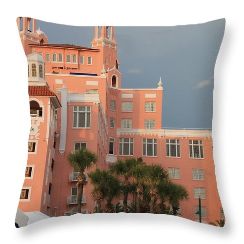 Historic Hotel Throw Pillow featuring the photograph Don Cesar Hotel by Robin Raible