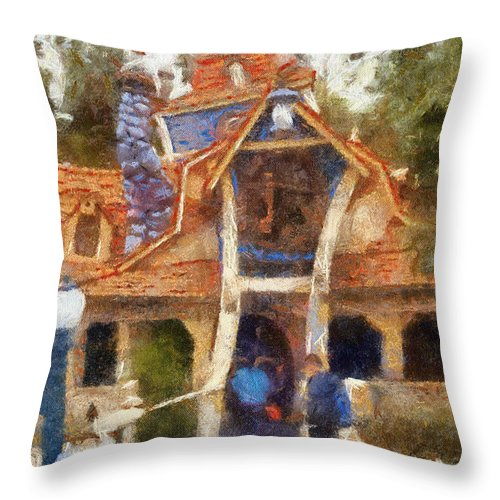 Toontown Disney Land Throw Pillow featuring the photograph Donalds Boat Disneyland Toon Town Photo Art 02 by Thomas Woolworth