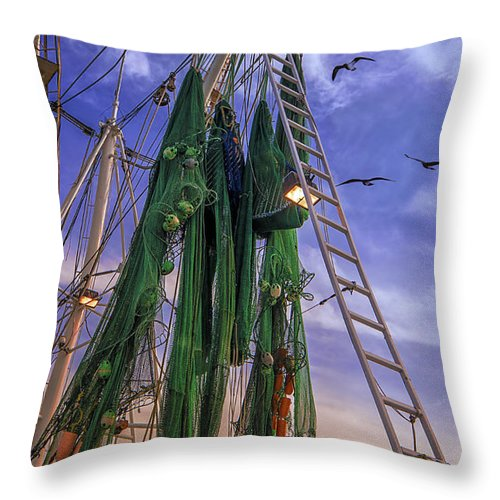 Shrimp Boat Throw Pillow featuring the photograph Done Shrimping At Tybee Island by Priscilla Burgers