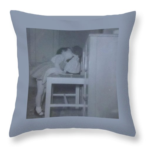 Little Girl Kissing Her Doll Throw Pillow featuring the photograph Donna Kissing Her Baby Doll by Donna Wilson