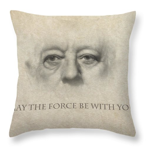 Star Wars Obi Wan Kenobi Movie Legend Star Famous Force Luke Skywalker Darth Wader Pencil Drawing Eyes Face Portrait Expressionism Throw Pillow featuring the painting Dont Be Afraid Of The Dark Side by Steve K