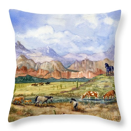 Mustang Throw Pillow featuring the painting Don't Fence Me In Part Three by Marilyn Smith