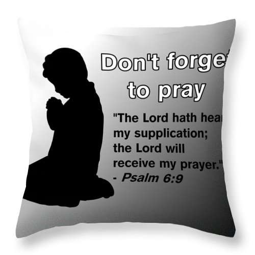 Praying Child Throw Pillow featuring the drawing Don't Forget to Pray Praying Child by Pharris Art