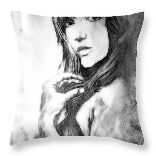Woman Throw Pillow featuring the drawing Don't Lie To Me by Joachim G Pinkawa