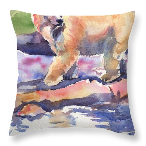 Polar Bear Watercolor Painting Throw Pillow featuring the painting Don't Look Back by Maria's Watercolor