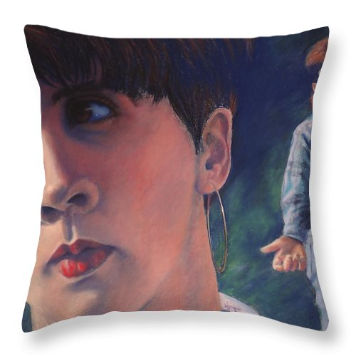 Message Throw Pillow featuring the painting Don't Look Back by Mary Knape