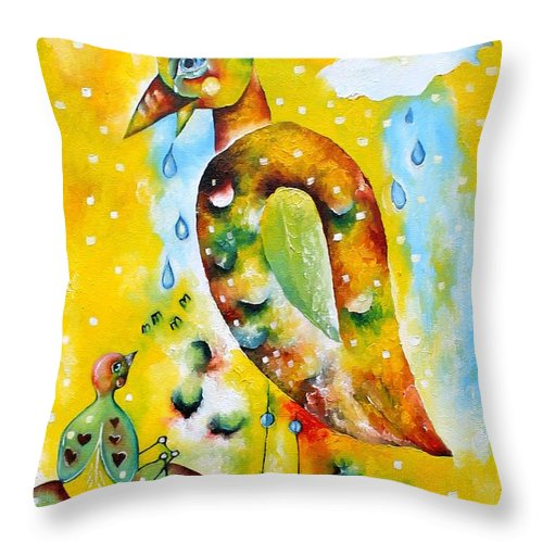 Surreal Throw Pillow featuring the painting Don't Worry Big Big Bird by Leona Tobin