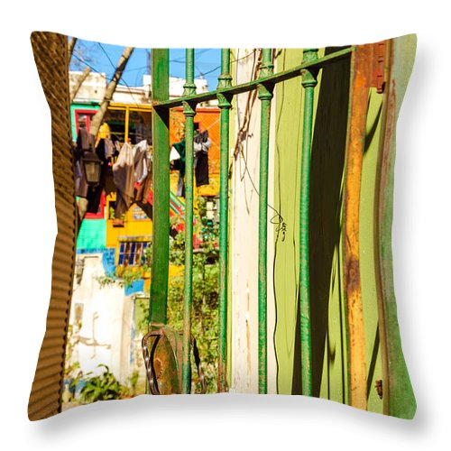 Argentina Throw Pillow featuring the photograph Door And Patio by Jess Kraft