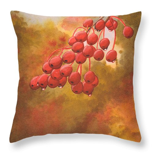 Rick Huotari Throw Pillow featuring the painting Door County Cherries by Rick Huotari