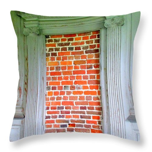 Drayton Throw Pillow featuring the photograph Door To Nowhere by Randall Weidner