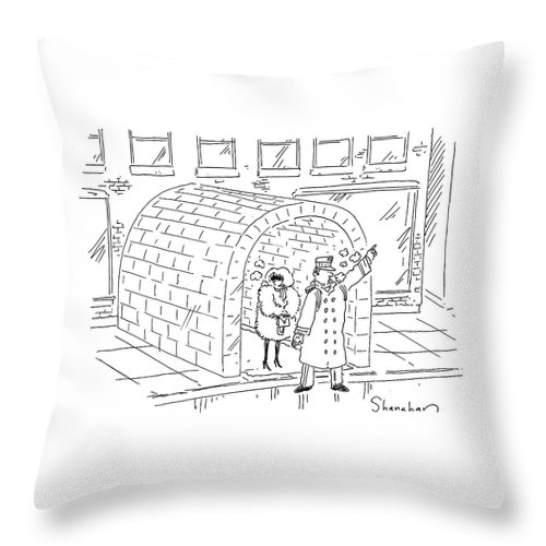 Cartoon Throw Pillow featuring the drawing Doorman Hailing Taxi For Woman Outside Igloo by Danny Shanahan