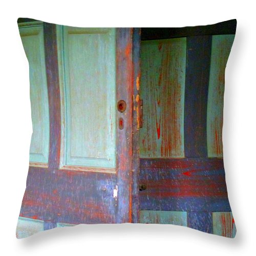 Drayton Throw Pillow featuring the photograph Doors Ajar by Randall Weidner
