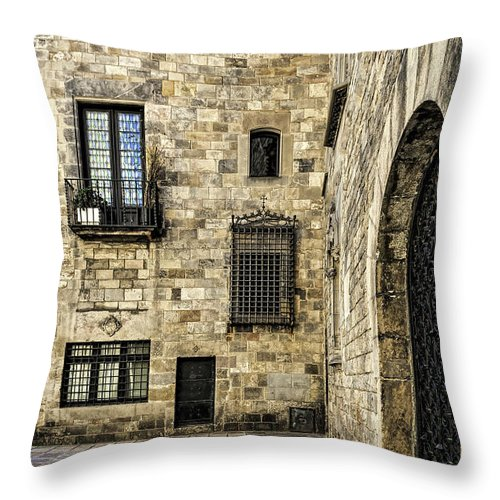 City Throw Pillow featuring the photograph Doors And Windows by Maria Coulson