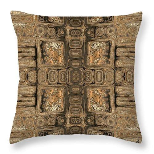 Geometric Throw Pillow featuring the digital art Doors Of Zanzibar Allspice by Judi Suni Hall