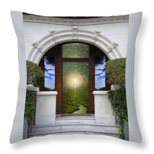 Mandala Sunset Throw Pillow featuring the mixed media Doorway 10 by Karma Moffett