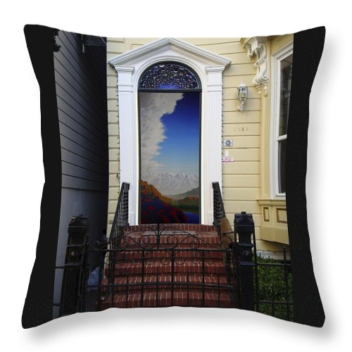 Sky Throw Pillow featuring the mixed media Doorway 12 by Karma Moffett