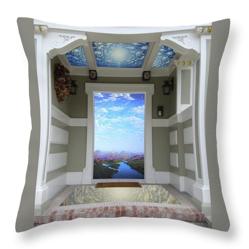 Clouds Throw Pillow featuring the mixed media Doorway 14 by Karma Moffett