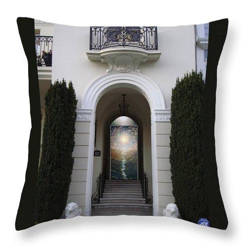 Mandala Sun Throw Pillow featuring the mixed media Doorway 6 by Karma Moffett