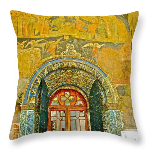 Doorway Entry To Cathedral Of The Archangel Inside The Kremlin Wall In Moscow Throw Pillow featuring the photograph Doorway Entry To Cathedral Of The Archangel Inside Kremlin Walls In Moscow-russia by Ruth Hager