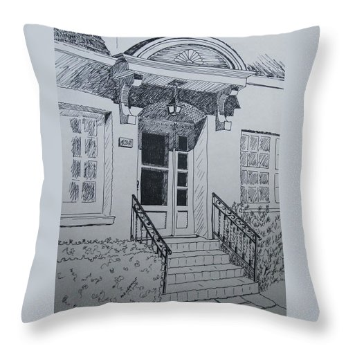 Pen And Ink Throw Pillow featuring the drawing Doorway by Mary Ellen Mueller Legault