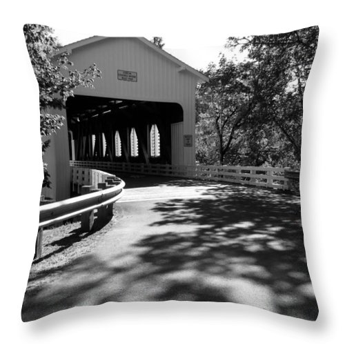 Black And White Throw Pillow featuring the photograph Dorena Covered Bridge by Katie Wing Vigil