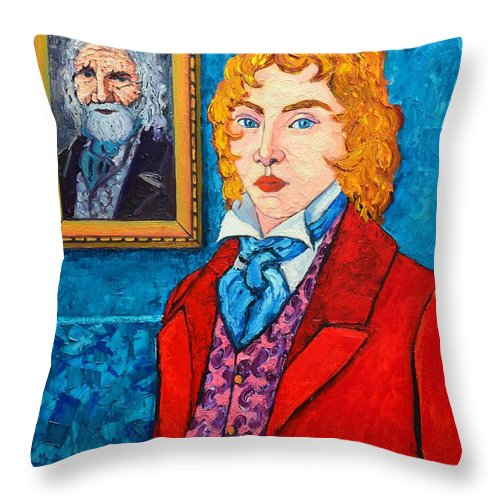 Dorian Throw Pillow featuring the painting Dorian Gray by Ana Maria Edulescu
