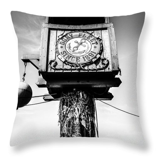 America Throw Pillow featuring the photograph Dory Fleet Crow's Nest Black And White Picture by Paul Velgos