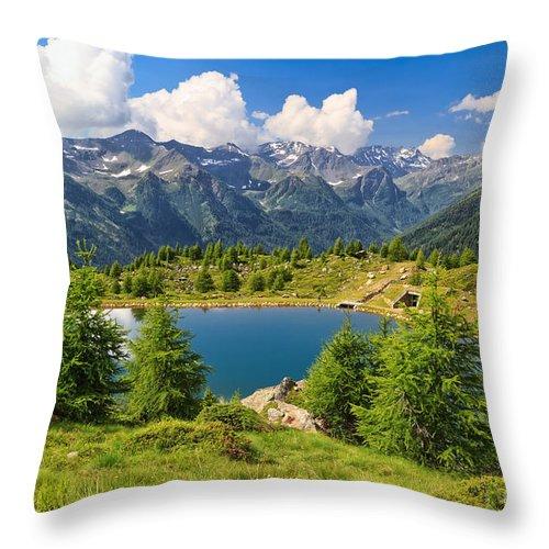 Alpine Throw Pillow featuring the photograph Doss Dei Gembri Lake In Pejo Valley by Antonio Scarpi
