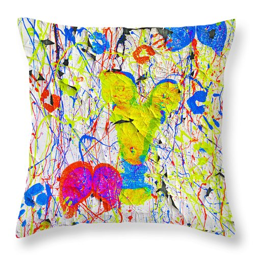 Nude Photographs Throw Pillow featuring the painting Dottie Peeled by Mayhem Mediums