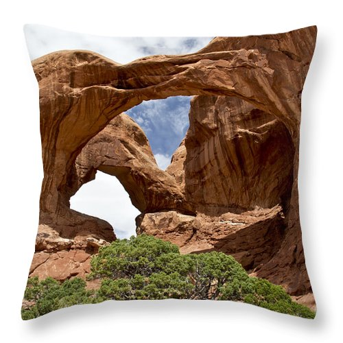 National Parks. Arches Throw Pillow featuring the photograph Double Arch - Arches Np by Kathy McClure