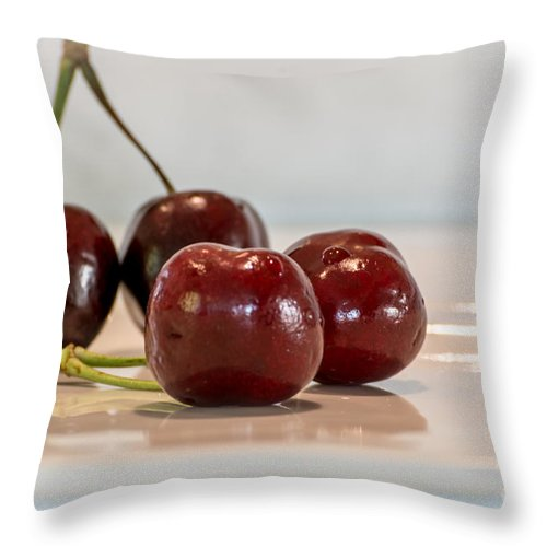 Cherry Throw Pillow featuring the photograph Double Cherry by Sabine Edrissi
