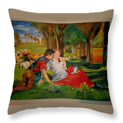 Throw Pillow featuring the painting double portrait of freinds Gunner and Jessie by Jude Darrien