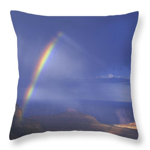 North America Throw Pillow featuring the photograph Double Rainbow At Cape Royal Grand Canyon National Park by Dave Welling