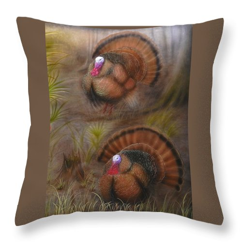 Wild Turkey Paintings Throw Pillow featuring the painting Double Strut by Hank Bufkin